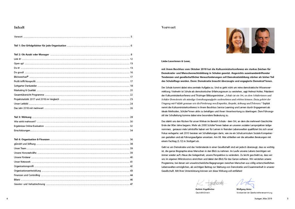 Inhaltsverzeichnis uns Vorwort des Geschäftsberichts 2018